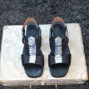 Sigerson Morrison Black Leather Sandal Sz 7.5